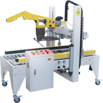 Автоматический заклейщик коробов с боковыми приводными ремнями типа