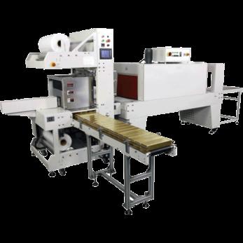Полностью автоматическая машина для упаковки в рукавную пленку с укладкой в стопы, модель TERMOLINE TLT 6030АЕ и термоусадочный тоннель TERMOLINE TLM 6040